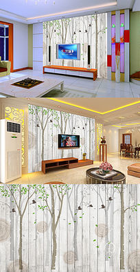 树林鸟木板年轮电视背景墙
