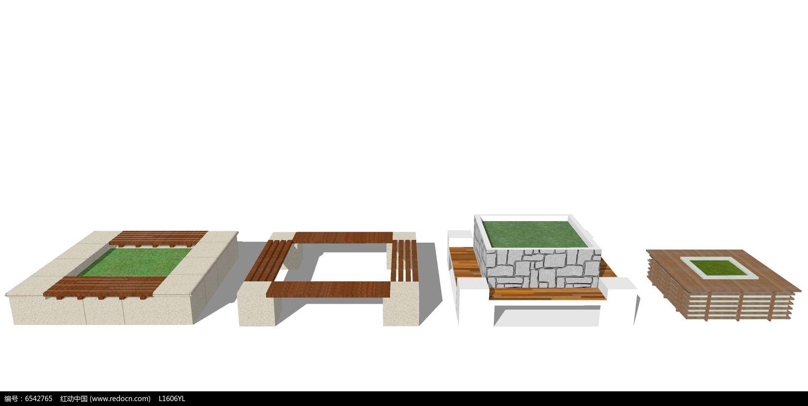 四款木制座椅树池skp素材下载_花坛树池设计图片