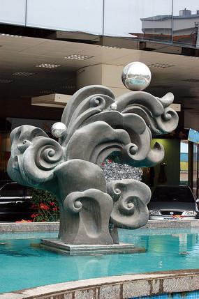 踏浪水景雕塑小品