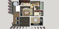 现代风格平层阳光棚室内家装样板草图大师SU模型skp模块