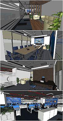 现代公司内部办公室会议室SU模