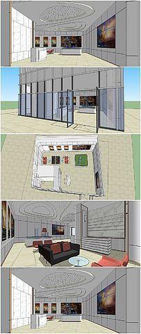 小型售楼处室内布置SU模型 skp