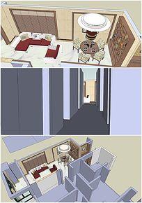 中式室内客厅房间SU模型设计