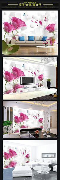 3d立体方块水中花朵餐厅背景墙