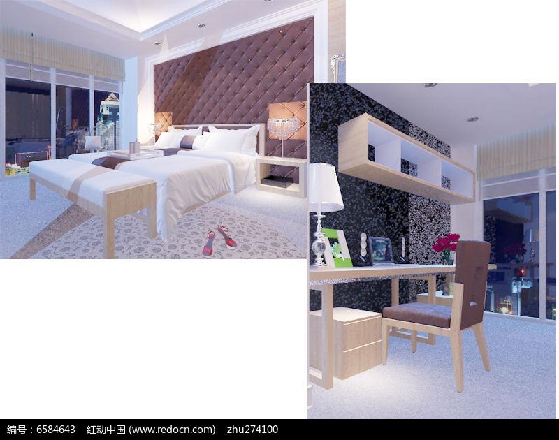 现代风格单身公寓装修模型图片