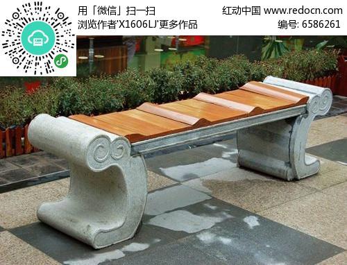 中式青石墩木质面休闲座椅图片