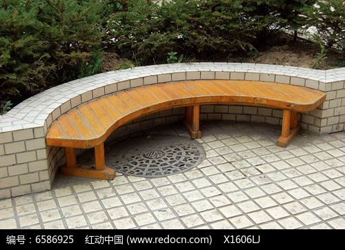 半圆沿花坛木质休闲座椅