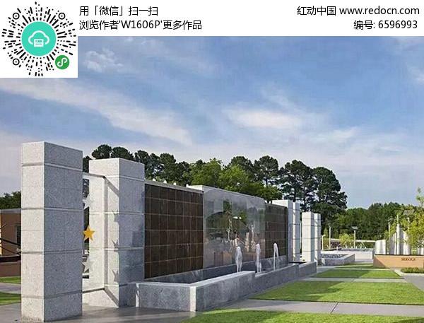 欧式喷泉景墙图片