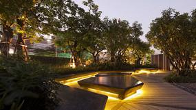 小区绿地坐凳夜景