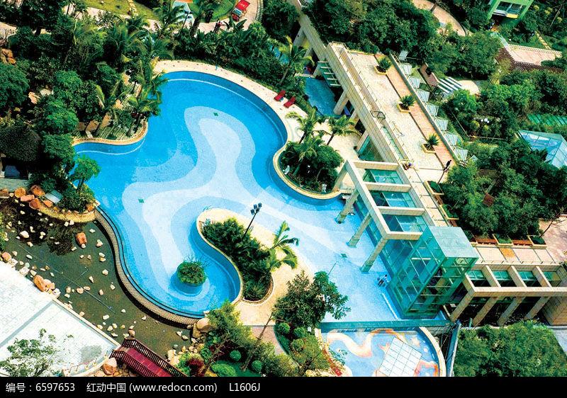 独栋别墅游泳池效果图