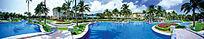 度假别墅游泳池全景效果图