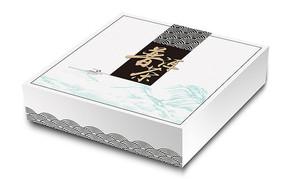 干净白色祥云底纹普洱茶包装盒