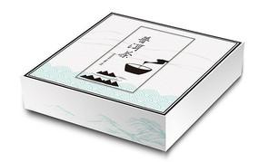 简约中国风山峰文化祥云底纹普洱茶包装盒