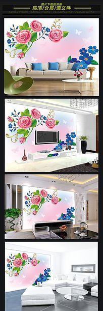 牡丹花欧式电视背景墙