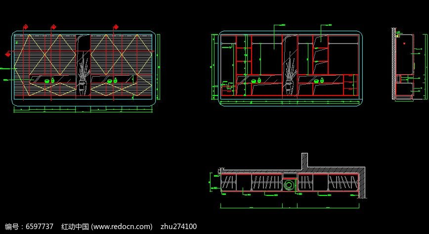 墙面衣柜三视图设计图CAD素材下载 编号6597737 红动网