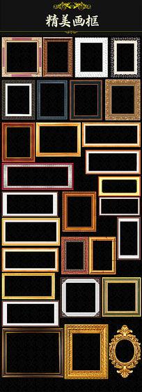金色相框油画框照片边框模板 PSD