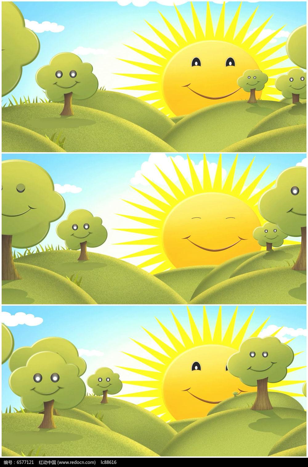 卡通太阳公公大自然高清视频素材