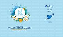 蓝色婚礼背景布景展板