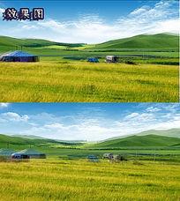 蓝天白云梦幻草原风景AVI视频