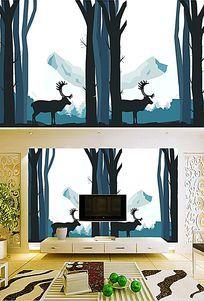 麋鹿手绘简约高档立体背景墙