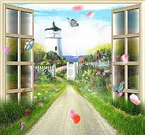 欧美小路风景墙画设计