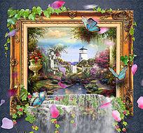 欧式油画风景画框立体画墙画设计 PSD