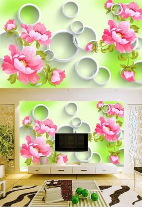 唯美手绘花瓣立体背景墙