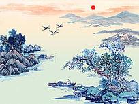 中国风水墨山水画国画 PSD