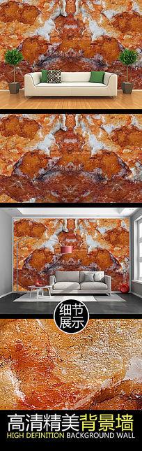 棕色大理石纹理浮雕电视背景墙