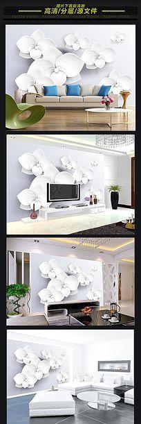 3D立体花纹花朵电视背景墙装饰