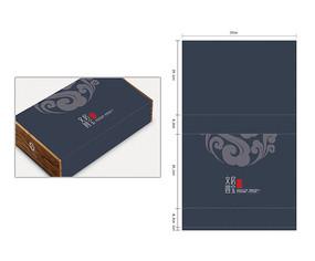 蓝色文房四宝木盒外部纸包装 AI