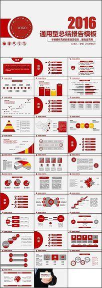 2016红色商务办公通用型总结报告模板