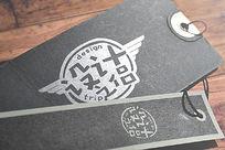 宽窄双标签3D字体样机字体样式设计 PSD