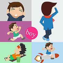 PS绘制全矢量扁平化欢乐青年卡通形象设计