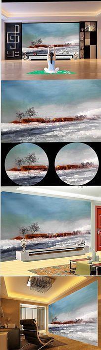 抽象雪山村电视背景墙