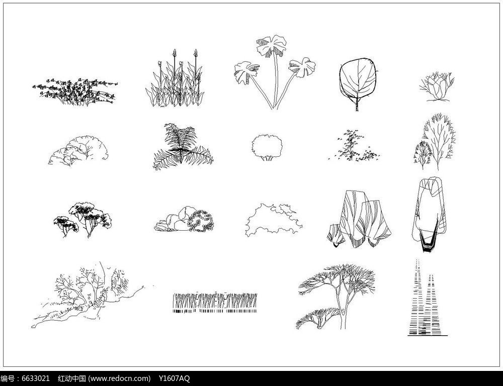 灌木地被立面cad图例dwg素材下载