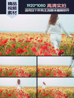 美女在花丛中奔跑慢镜头高清实拍视频素材 mov