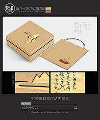 牛皮纸茶叶礼盒包装设计平面图图片 PSD
