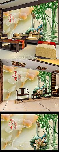 唯美玉雕荷花竹子背景墙