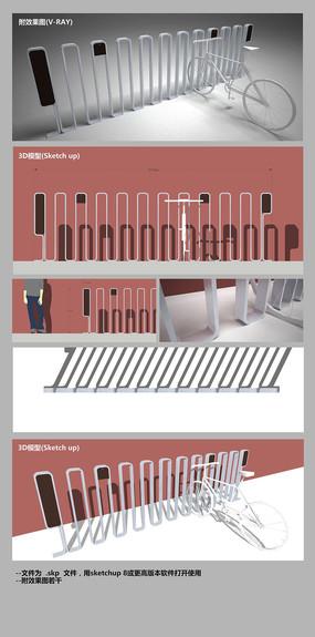 极简风格银白色曲线造型立体公共装置艺术 skp