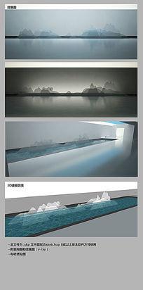 透明立体玻璃山水公共艺术