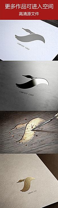 野生动物大雁飞翔造型标志设计
