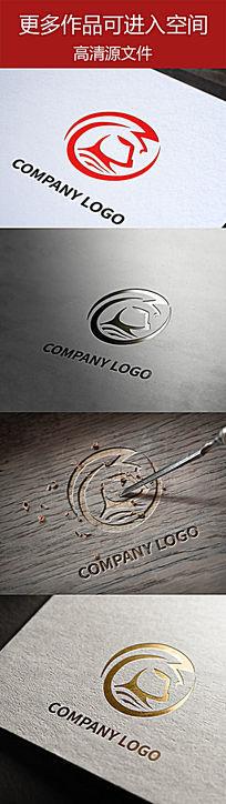 勇士头像简洁线条企业标志设计
