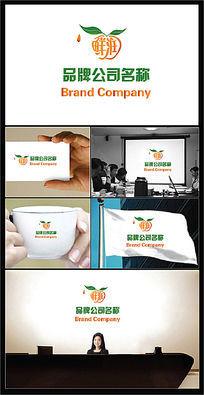 橙子绿叶组成的绿色行业标志
