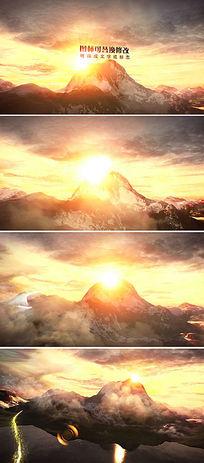 大气山峰背景logo标志文字展示片头模板