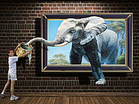 高清逼真大象3d立体壁画下载 TIF