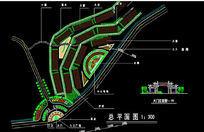 公园入口广场平面布置大门立面CAD图