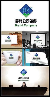 汉字州变形和飞鸟图案的绿色环保主题标志