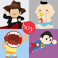 精细分层全矢量卡通男孩超人素材 PSD