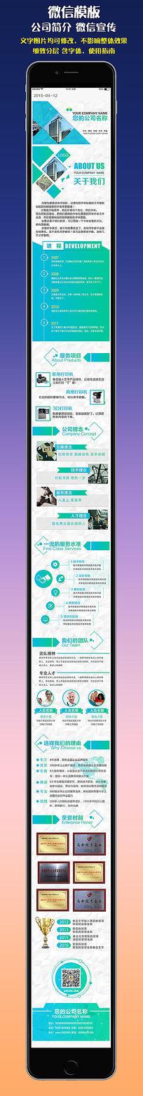 蓝色企业文化微信图文信息模板 PSD